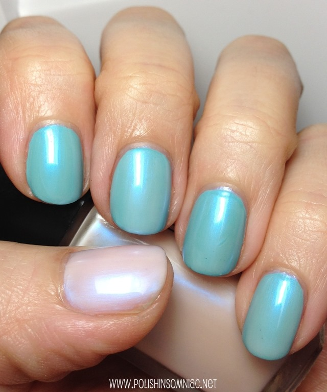 Rococo Flossy over Smitten nail polish