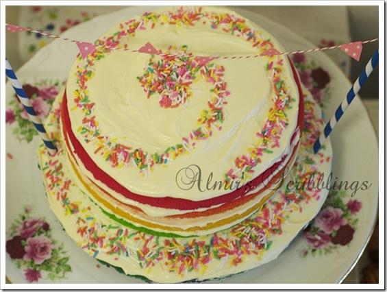 Rainbow cake - top view