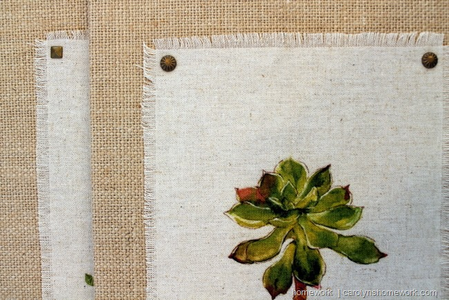 Fabric Prints on Burlap Canvas via homework | carolynshomework.com