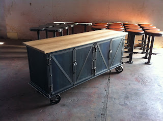 "70"" x 22"" x 32"" Ellis Sideboard with worn oak top"