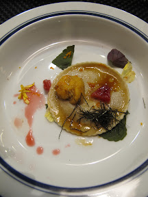 Miso ravioli with sea urchin, blood orange & shiso at the Yuji Ramen pop-up omakase