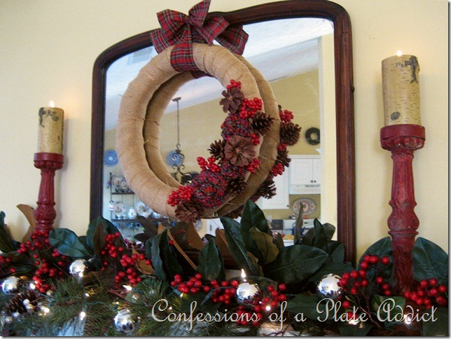 CONFESSIONS OF A PLATE ADDICT Burlap and Plaid Mantel6