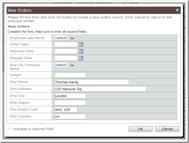 New Orders form on the Customers page prepopulated with customer shipping information.