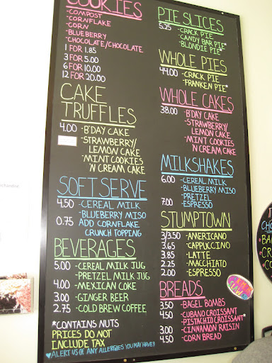 The menu at Milk Bar.