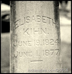 Elizabeth Kraut Keen's tombstone in St. Joseph Cemetery, Indianapolis, Indiana.