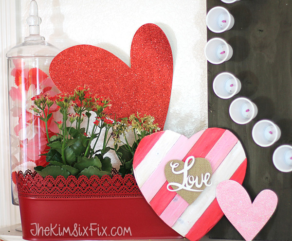 Hearts on valentines Mantel