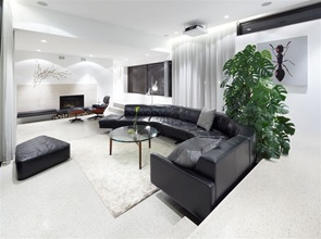 decoracion-salon-sillones-negros