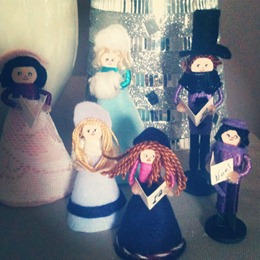 Handmade Clothespin Carolers