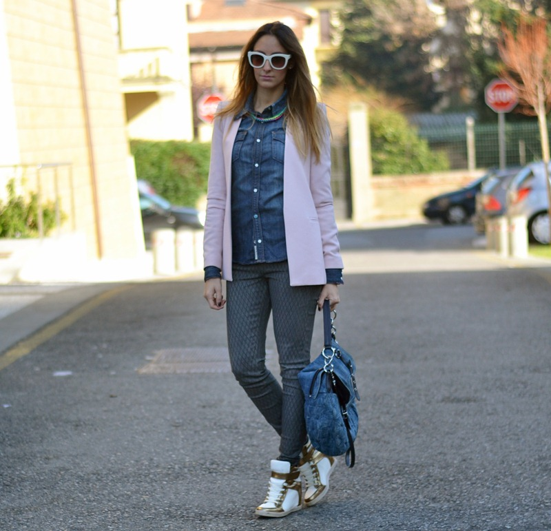 Zara, Zara jacket, True Religion, Primark, Primark shoes, Sneakers with wedge, Sneakers con la zeppa, Miu Miu bag