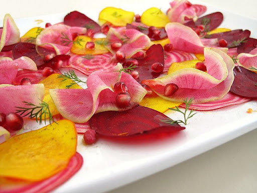 Shaved Beet and Radish Salad with Pomegranate Seeds