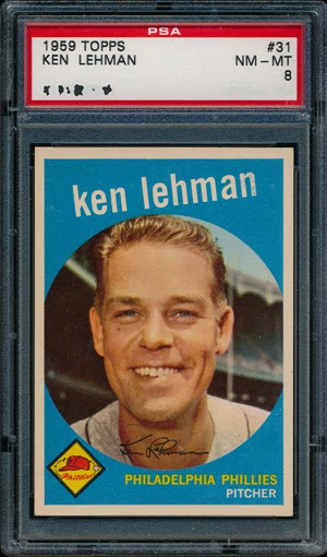 1959 Topps 31 Lehman blue shading of n autograph line