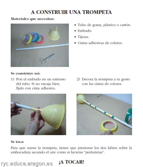 trompeta hecha con material reciclable