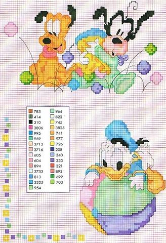 Ponto cruz baby disney–belos graficos de ponto cruz