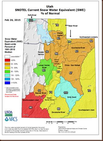 UT snowpack map - 26 Feb 2015