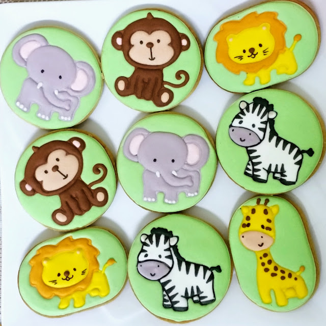 lion elephant zebra monkey cookies