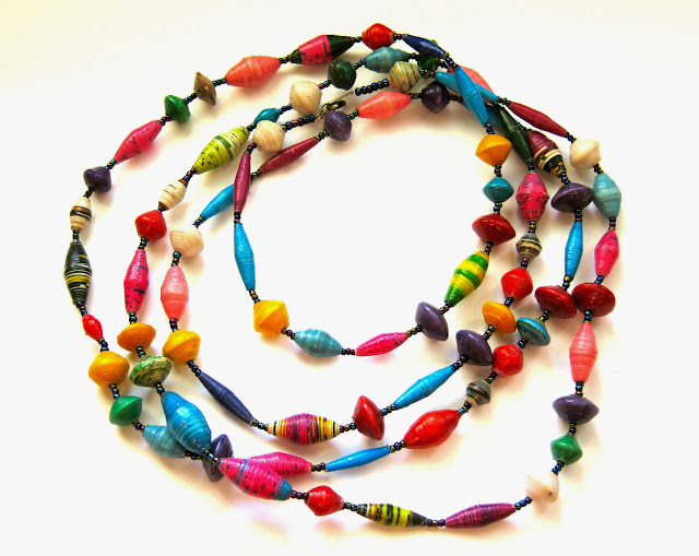 Extra Long Bright Paper Bead Necklace