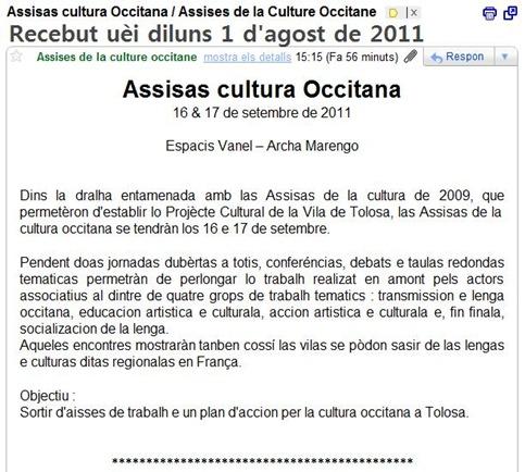 assisas de la cultura a Tolosa