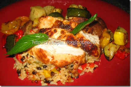 Chitra Pal Grilled Thai Chicken over Brown Rice Medley and Rosemary Roasted Vegetables