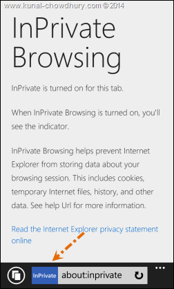 InPrivate browsing mode in Windows Phone 8.1 Internet Explorer 11 (www.kunal-chowdhury.com)