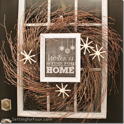 DIY Wintery Wreath from Setting for Four #wreath