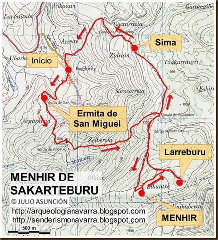 Mapar ruta Menhir de Sakarteburu