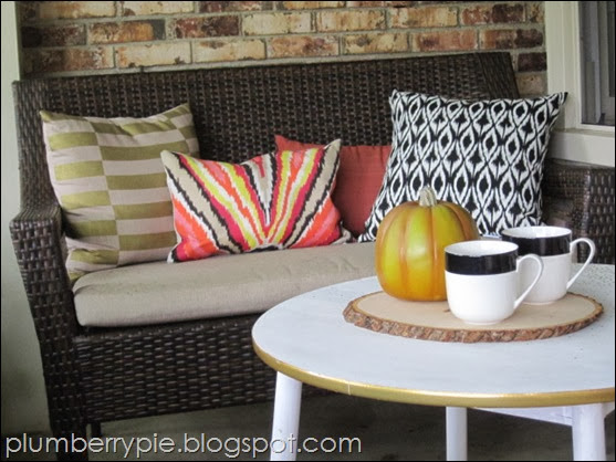 {plumberry pie} fall porch pillow change