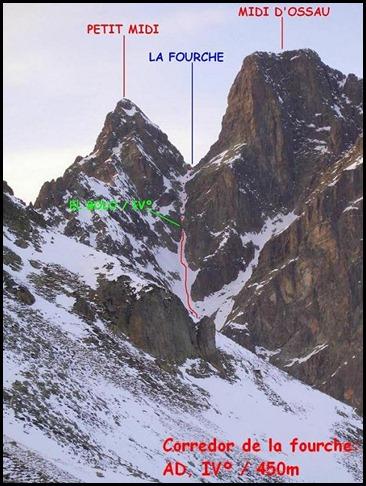 Croquis Midi d'Ossau - Corredor de La Fourche 450m AD  IV 50º