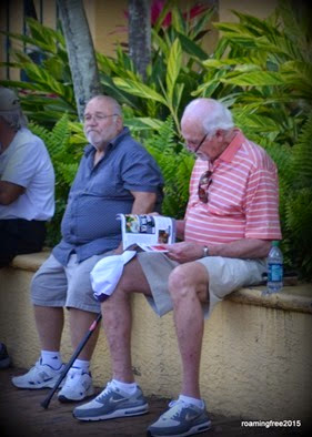 Two old guys, probably waiting on their wives!