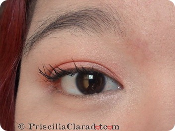 Priscilla peachy makeup look Lancome mascara_