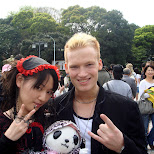 taking a picture with a Japanese girl in Gothic lolita fashion in Harajuku, Tokyo, Japan
