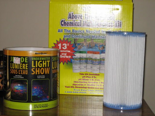 Pool/Hot Tub Test/Maint. Kit (used once on a 13' Above Ground Mini-Pool - 99.9% remaining)<br />**Description: <br />Kem-Tek Above Ground Test/Maintenance Kit (13' Pools and above)<br />pH Plus, pH Minus, Chlorinating Granules, Algaecide and Clarifier, Test Kit, Measuring Spoons, Instructions,<br />New Type A Pool Pump Filter, New LED Floating Light Show (4 colors, 5 different light shows for bottom and side of pool)