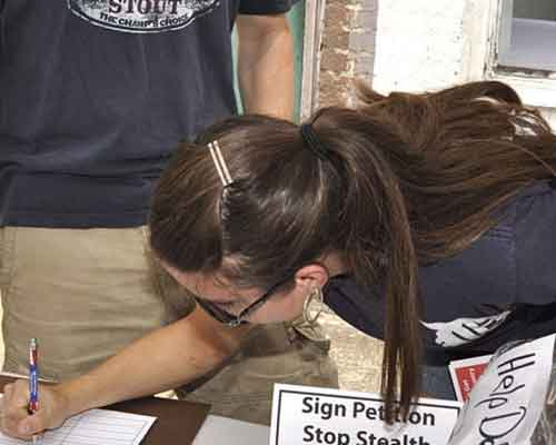 guest signs our petition for property tax votes to be held in November