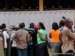 Vérification des noms par des électeurs devant un bureau de vote  le 28/11/2011 au quartier Makelele dans la commune de Bandalungwa à Kinshasa, pour les élections de 2011 en RDC. Radio Okapi/ Ph. John Bompengo