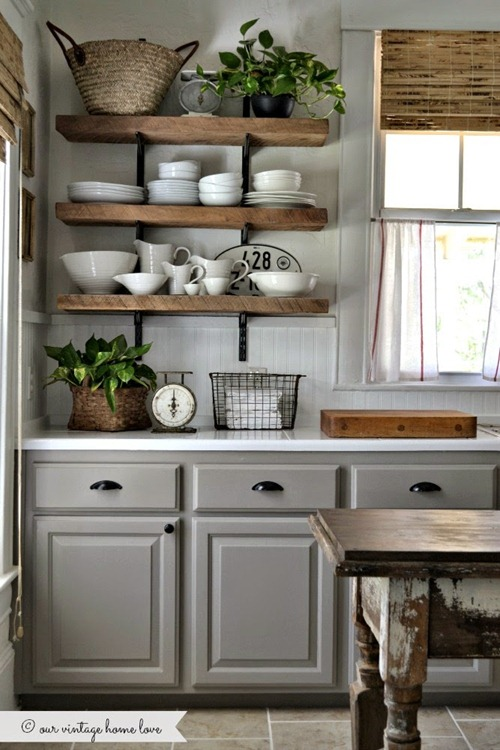wood shelves in kitchen