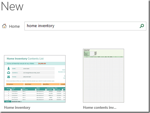 home inventory excel template