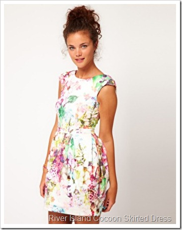 River Island Cocoon Skirted Dress With Bow Back
