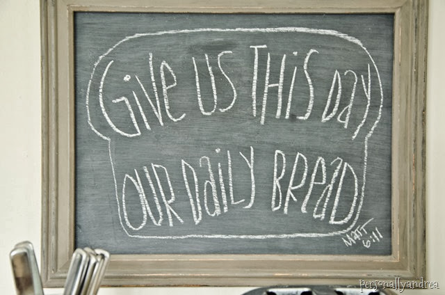 Chalkboard art in a distressed frame | Give us this day | personallyandrea.com