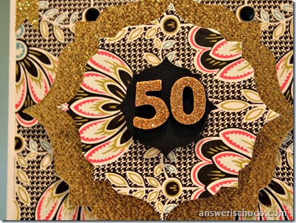 50th Birthday Gold Glitter Closeup