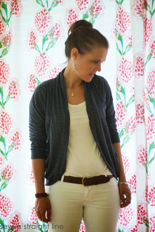 julia cardigan and white jalie jeans straight leg sew a straight line-5