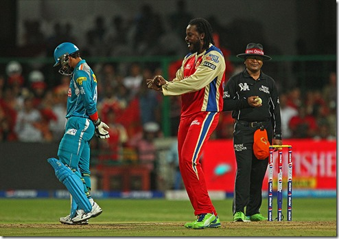 Chris Gayle dances Gangnam Style after taking a wicket against Mumbai Indians IPL 2013