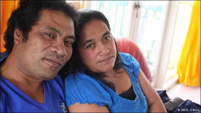Ioane Teitiota and his wife Angua Erika, from the South Pacific island nation of Kiribati, had hoped to become the world's first climate change refugees. Photo: V. O'Brien / DW