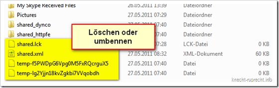 Skype: temporäre Dateien löschen