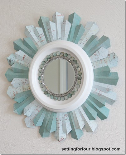 DIY Beaded Sunburst Mirror from Setting for Four #sunburst #mirror #craft #diy #tutorial #mirror #bead #scrapbook #paper 