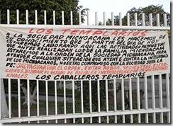 """Баннер, который разместили бандиты из картеля """"Рыцари храма"""""""
