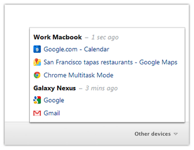 Google Chrome 19 - aggiunge la sincronizzazione le schede da desktop ad android