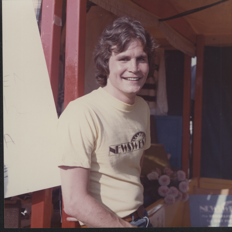 Michael Kearns at the Los Angeles Christopher Street West pride festival. June 29, 1975.