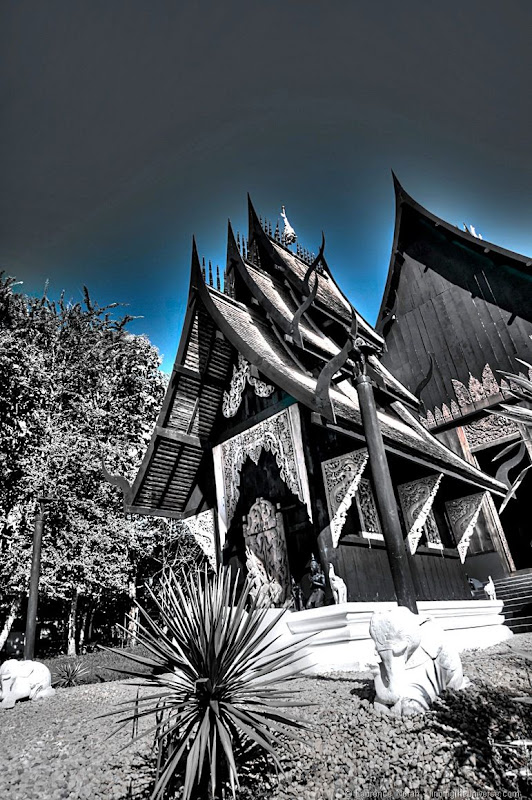 Blue tinged black temple chiang rai thailand