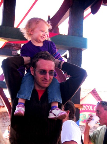 Vivian on Daddy's shoulders