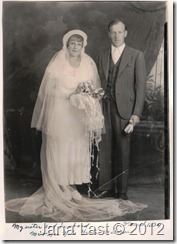 Helen Albertina Gilberg and Nils Gustav Nilsson on Their Wedding Day