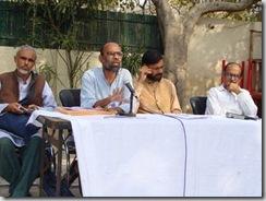 (R-L) Prashant Bhushan, Yogendra Yadva, Sunil, president, Samajwadi Jan Parishad